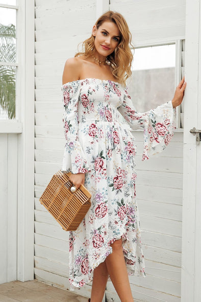 Off Shoulder Print Summer High Waist Irregular Fashion Dress | TeresaClare
