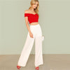 Off Shoulder Red Elegant Workwear Sweetheart Slim Crop Top | TeresaClare