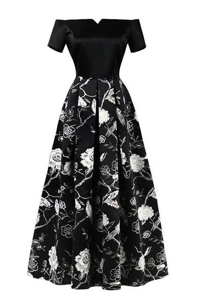 Off The Shoulder Black Printed Floor Length A-Line Prom Dress | TeresaClare