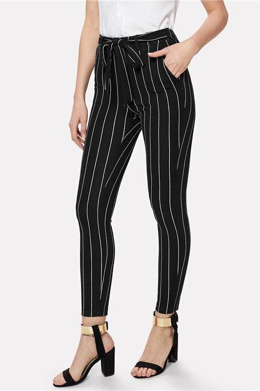 Office Vertical Striped Skinny Elastic Waist Pants | TeresaClare