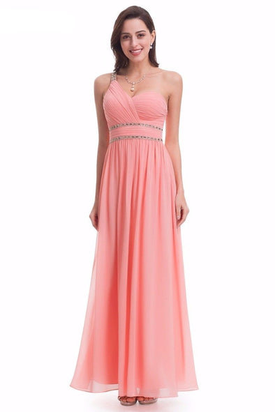 One Shoulder Empire V-Neck Prom Dress With Beading And Ruffles | TeresaClare