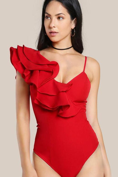 One Shoulder Ruffle Neck Bodysuit With Layered Flounce | TeresaClare