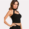 Open Front Halter Black Cut Out Plain Sexy Crop Top | TeresaClare