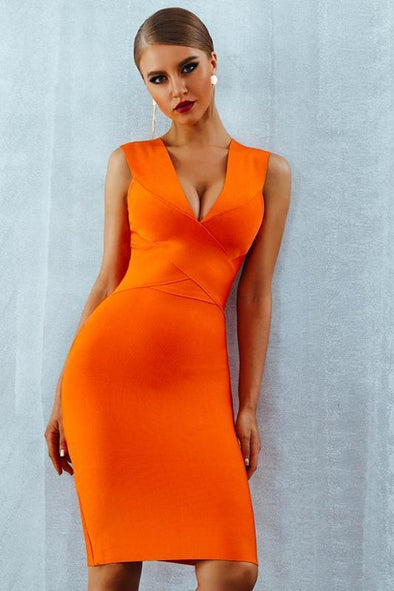 Orange Bandage Tank Sexy Deep V-Neck Sleeveless Bodycon Party Dress | TeresaClare