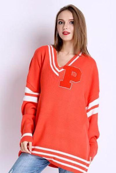 Orange Casual Acrylic Sweater With V-Neck And Letters | TeresaClare