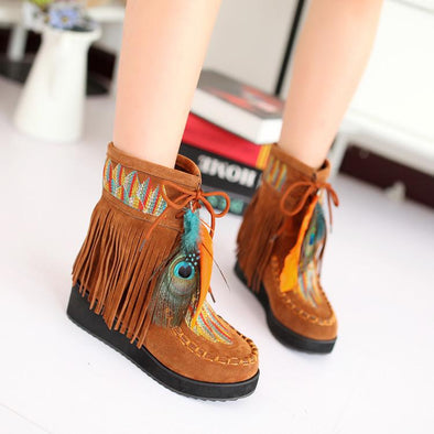 Orange Indian Style Retro Fringe Flock Chunky Feather Ankle Boots | TeresaClare