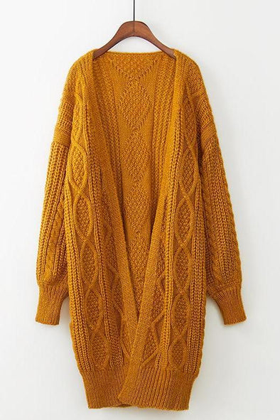 Orange Women's Lantern Sleeve Loose Knitted Sweater Coat | TeresaClare
