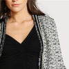 Pearl Beaded Frayed Edge Tweed Fitted Blazer | TeresaClare