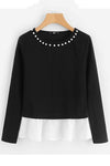 Pearl Beading Neck Contrast Trim Tops Black and White T-Shirt | TeresaClare