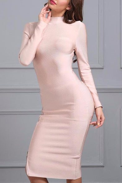 Pearl Pink Elegant Stand Neck Stanplacenin Long Sleeve Zipper Bodycon Bandage Dress | TeresaClare