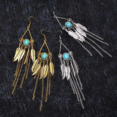 Personality Feather Tassel Earrings For Women | TeresaClare