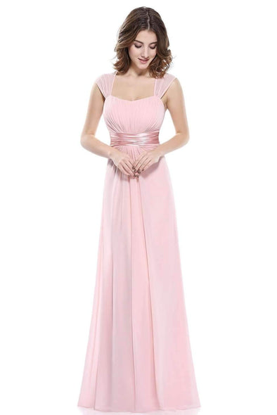 Pink A-Line Chiffon Floor-Length Evening Dress With Pleats | TeresaClare