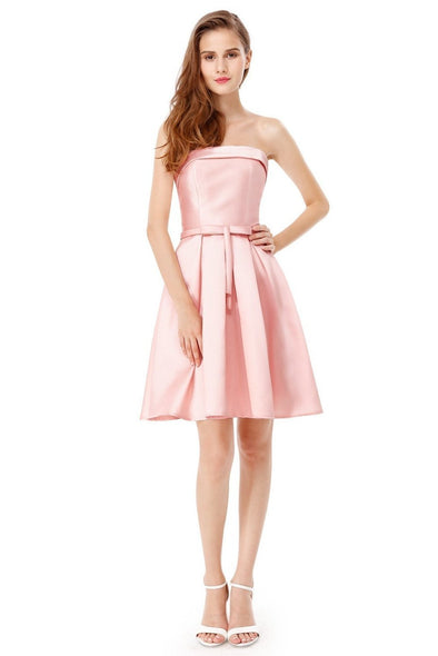 Pink A-Line Strapless Off The Shoulder Satin Homecoming Dress | TeresaClare