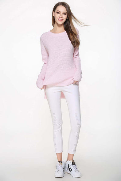 Pink Acrylic Knitted Casual Sweater With O-Neck | TeresaClare