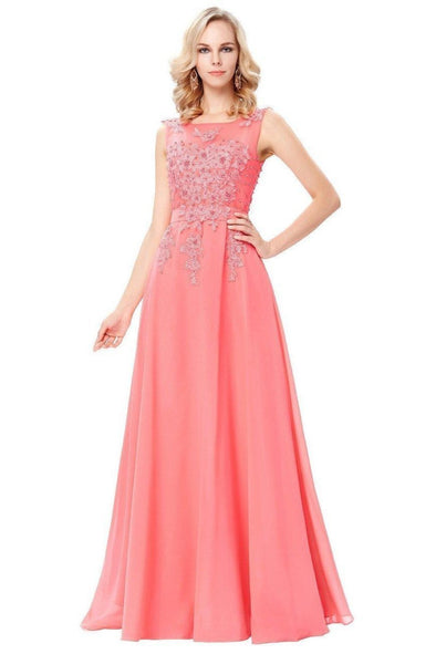 Pink Appliques Floor-Length Sleeveless Chiffon Evening Dress | TeresaClare