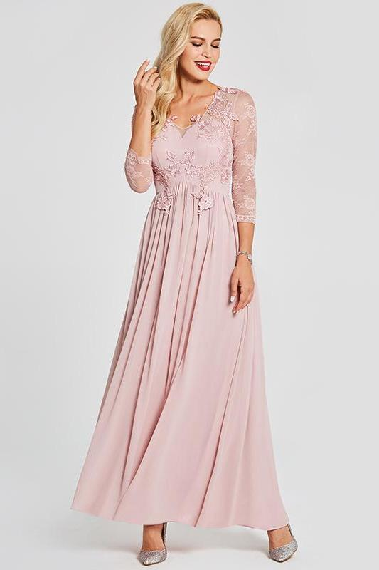 Pink Appliques Long Pink V-Neck Floor Length A-Line Prom Dress | TeresaClare