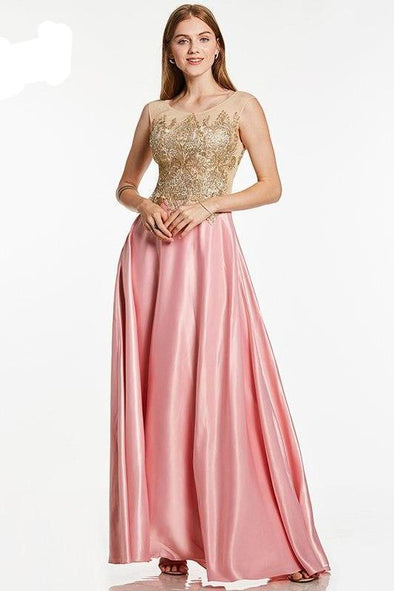 Pink Appliques Pink Bateau Neck Sleeveless Floor Length Evening Dress | TeresaClare