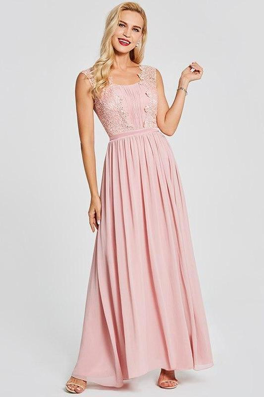 Pink Appliques Pink Scoop Sleeveless Floor Length Evening Dress | TeresaClare