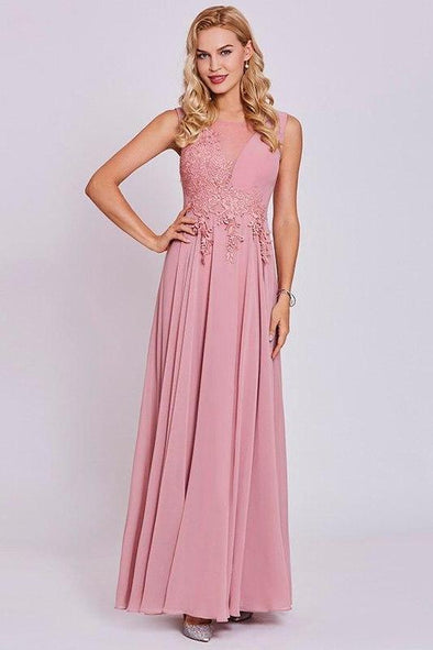 Pink Appliques Pink Sleeveless Floor Length A-Line Prom Dress | TeresaClare