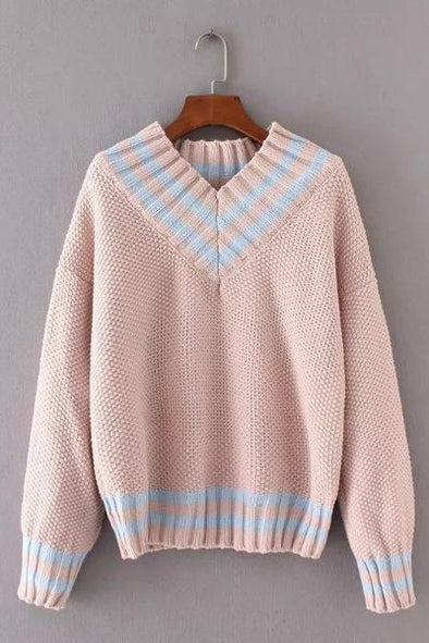 Pink Autumn Korean Patchwork Women Pullover Sweater | TeresaClare