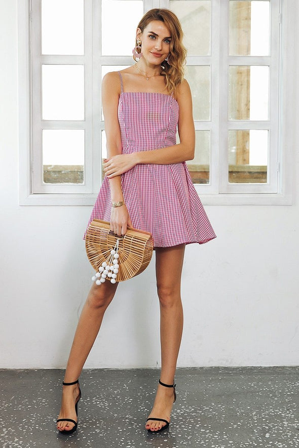 Pink Backless Strap Plaid Mini High Waist Summer Dress | TeresaClare