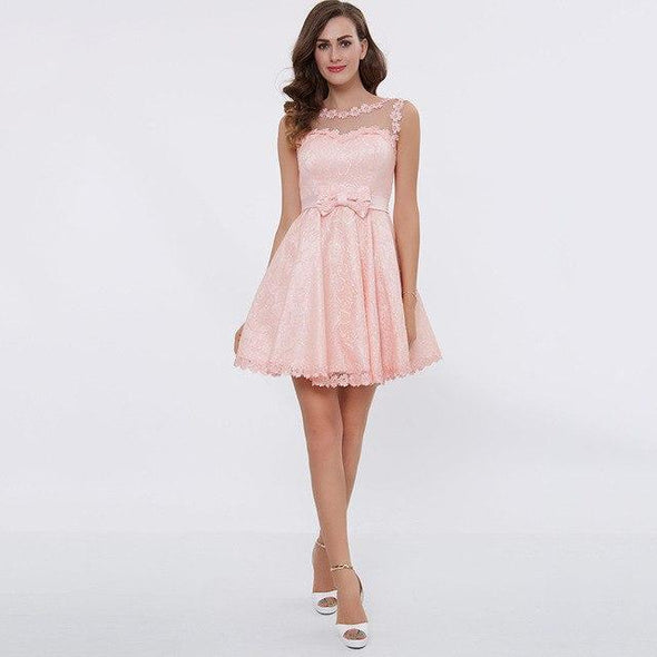 Pink Bateau Short Above Knee Bow A-Line Cocktail Dress | TeresaClare