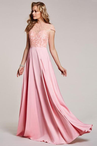 Pink Beaded Long Pink Scoop Floor Length A-Line Prom Dress | TeresaClare