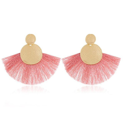 Pink Bohemia Tassel Big Fringe Earrings For Women | TeresaClare
