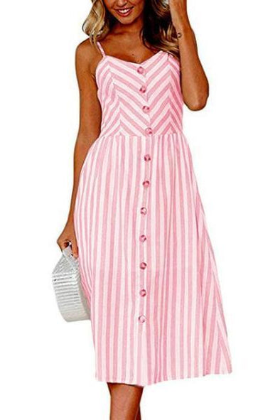 Pink Boho Stripe Prints Summer V Neck Fashion Dress With Covered Buttons | TeresaClare