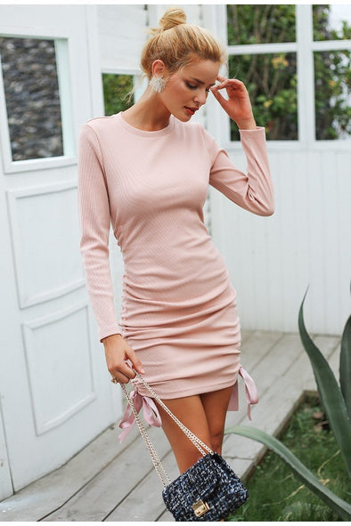 Pink Drawstring Pink Knitted Sweater Bodycon Dress | TeresaClare