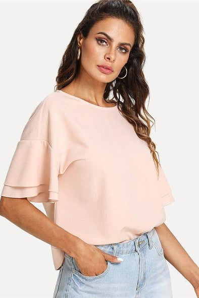 Pink Drop Shoulder Layered Sleeve Round Neck Short Sleeve T-Shirt | TeresaClare