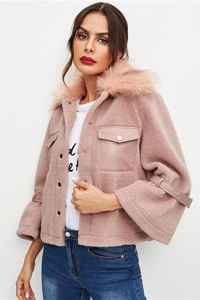 Pink Elegant Button And Pocket Front Faux Fur Coat | TeresaClare