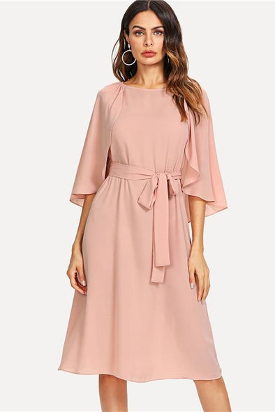 Pink Elegant Cloak Sleeve Self Belted Knot Front Fashion Dress | TeresaClare