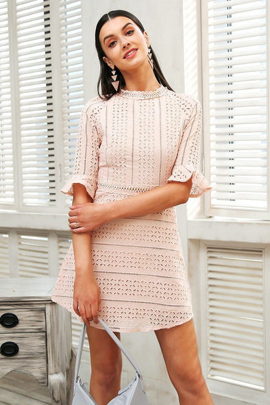 Pink Elegant Pink Hollow Out Lace Half Sleeve Midi Dress | TeresaClare