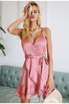Pink Elegant Ruffle Satin Strap V Neck Short Dress | TeresaClare