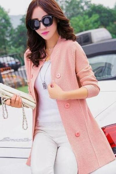 Pink Female Cardigan Open Stitch Solid Sweater | TeresaClare