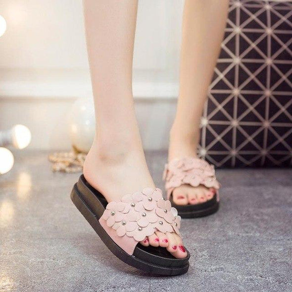 Pink Flowers Sweet Slip Muffin Thick Soled Slippers | TeresaClare