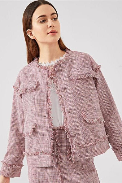 Pink Frayed Edge Trim Button Up Plaid Single Breasted Jacket | TeresaClare