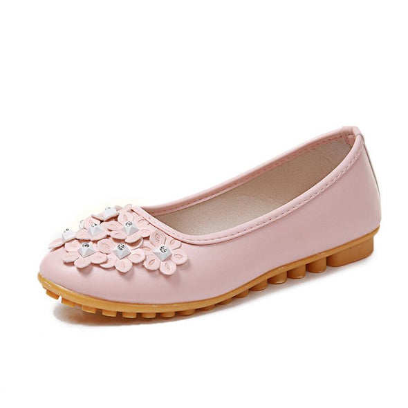 Pink Genuine Leather Flower Tip Handmade Breathable Flats | TeresaClare