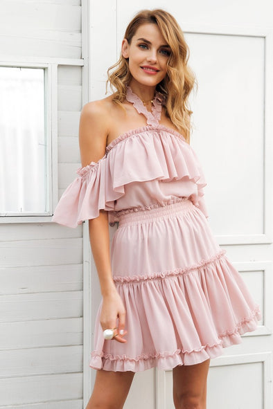 Pink Halter Off Shoulder Ruffle Backless High Wasit Chiffon Dress | TeresaClare