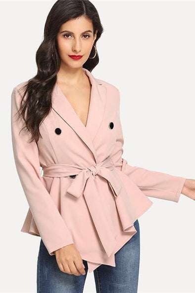 Pink Highstreet Asymmetric Peplum Blazer With Double Buttons | TeresaClare