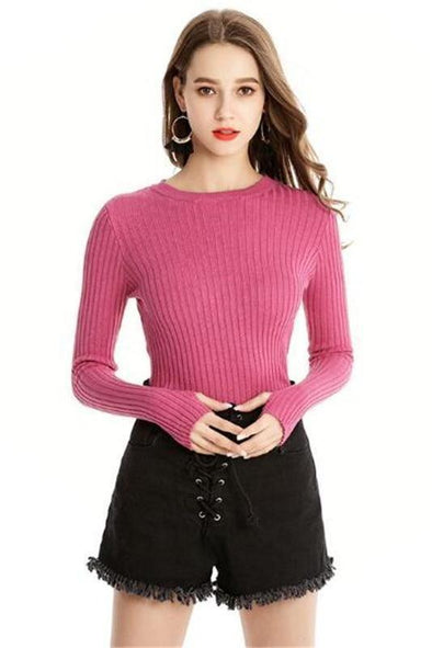 Pink Knitted Pullover Sexy O-Neck Skinny Sweater | TeresaClare