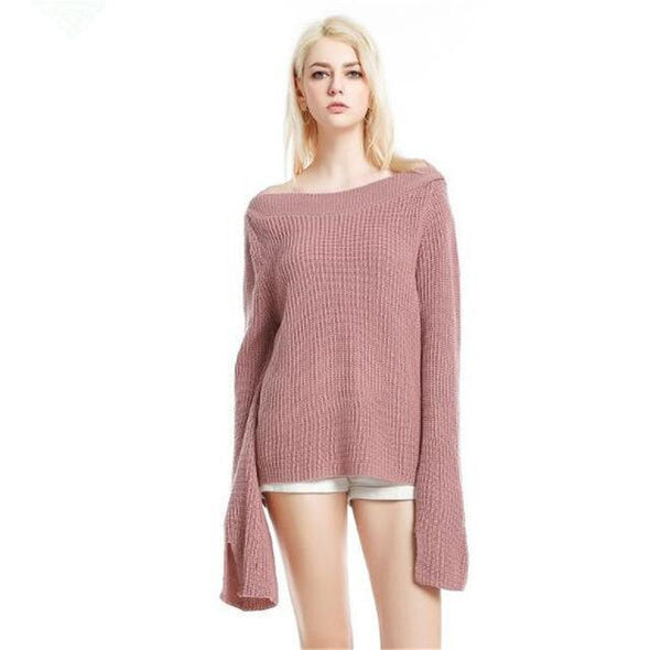 Pink Knitted Pullover Slash Neck Flare Sleeve Sweater | TeresaClare