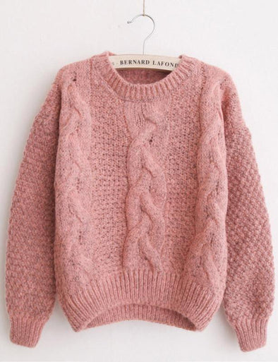 Pink Korean Style O-Neck Casual Twist Mixed Sweater For Women | TeresaClare