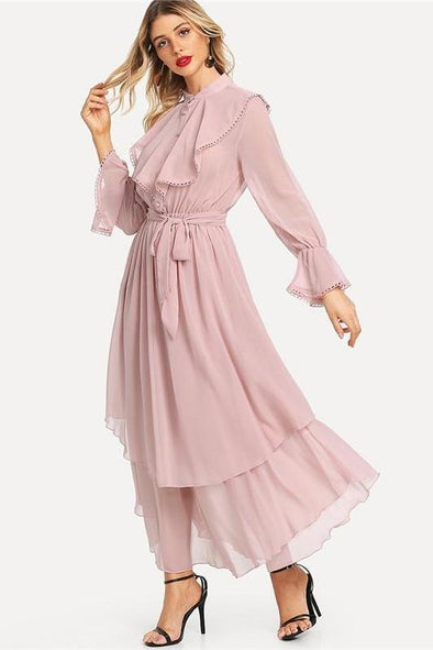 Pink Long Flared Sleeve Belted Hem Women's Fashion Dress | TeresaClare
