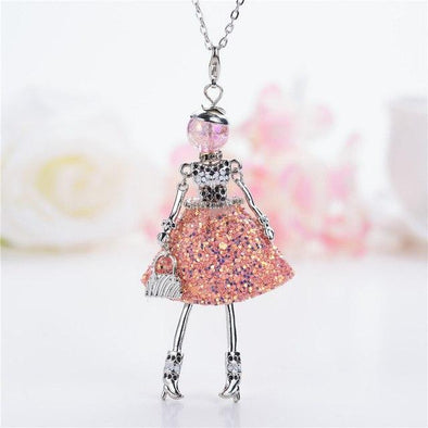 Pink Lovely Shining Crystal Doll Necklace Statement | TeresaClare