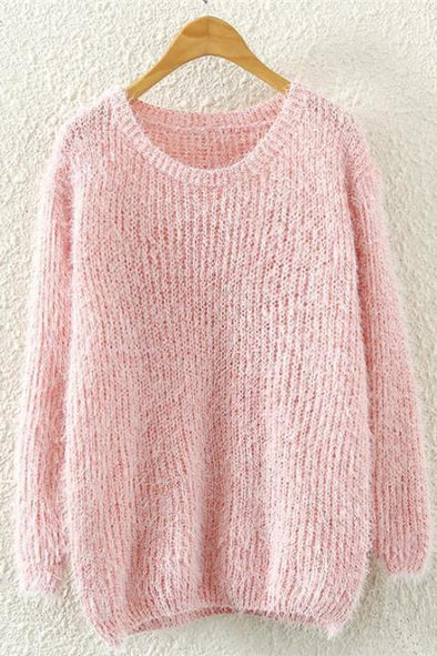 Pink Mohair O-Neck Pullovers Long Sleeve Sweater | TeresaClare