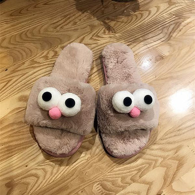 Pink New Cute Big Googly Eyes Plush Slippers | TeresaClare