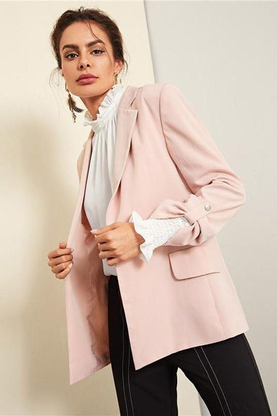 Pink Officewear Elegant Notched Collar Roll Tab Sleeve Blazer | TeresaClare