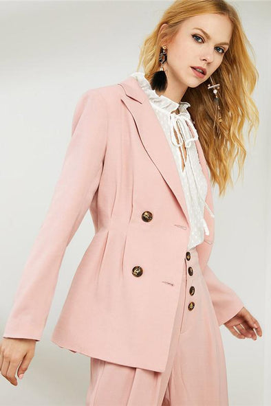 Pink Pink Notch Collar Elegant Double Breasted Blazer | TeresaClare
